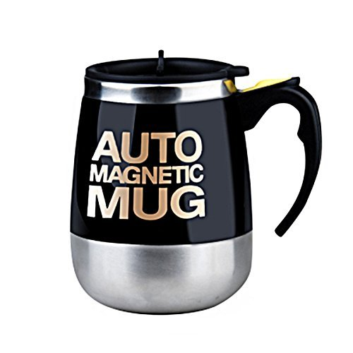 Alinshi Auto Magnetic Mug - Electric Self Stirring Coffee / Mixing Cup for Coffee / Tea / Hot Chocolate, 450ml / 15.2oz, - Black from Alinshi