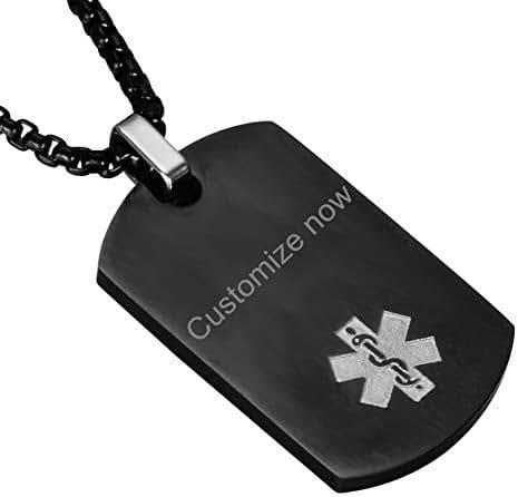 SL Waterproof Custom Free Engraving Name Date Stainless Steel Autism Medical Alert Necklace Allergy Awareness Military Dog Tag Pendant,Emergency SOS Life Saver for Son,Daughter,Grandpa,Grandma