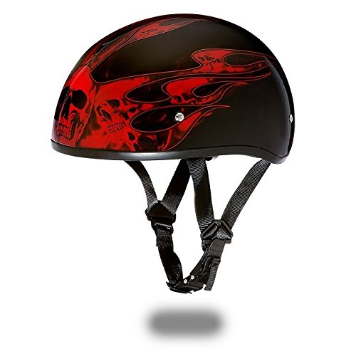 DOT Motorcycle Half Helmet With Skull Flames Red (Size L, LG, Large)