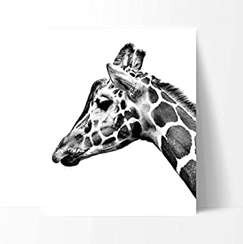 Simplistic giraffe poster print art 11 x 14 inches black white grey color
