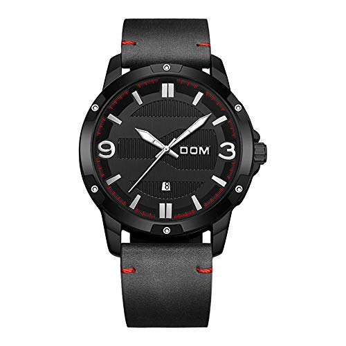 RUIXFWA Minimalist Leather Men Quartz Watch Multi-Level Combination Dial with Black Dial Analogue Display and Brown Leather Strap Adjustable, Red