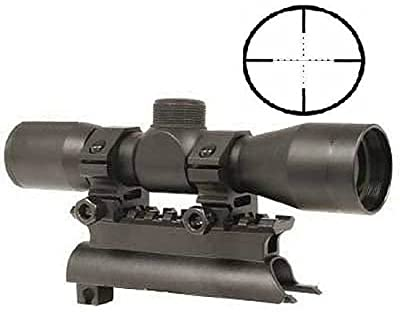 Ultimate Arms Gear Tactical SKS 4x30 mm Mil Dot Reticle Rifle Hunting Sniper Scope with See Thru Lens Caps + Stealth Black Steel SKS 7.62x39 Rifle See Through Receiver Cover Replacement High Profile Tactical Scope Weaver Picatinny Rail Mount Complete With