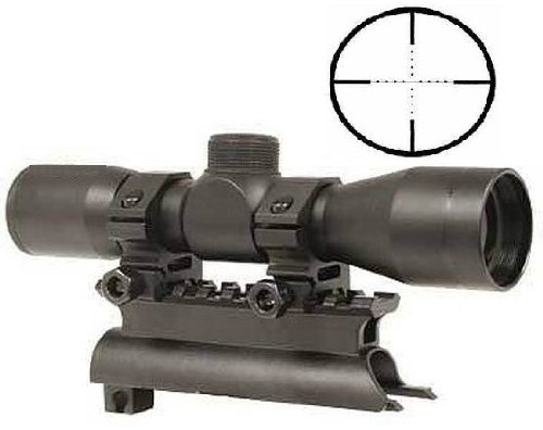 Ultimate Arms Gear Tactical SKS 4x30 mm Mil Dot Reticle Rifle Hunting Sniper Scope with See Thru Lens Caps + Stealth Black Steel SKS 7.62x39 Rifle See Through Receiver Cover Replacement High Profile Tactical Scope Weaver Picatinny Rail Mount Complete With by Ultimate Arms Gear