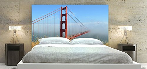 Upholstered Bed Headboard with Solid Wood Frame - Golden-Gate-Bridge-48 Theme Fabric Slipcover (King Size: 78 x 36 inch)