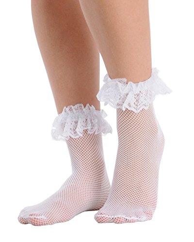 Womens Fishnet Ankle Socks Ruffle Lace Trim Crew Anklet Black White or Red Color: White (Lace Black Socks Trim White)