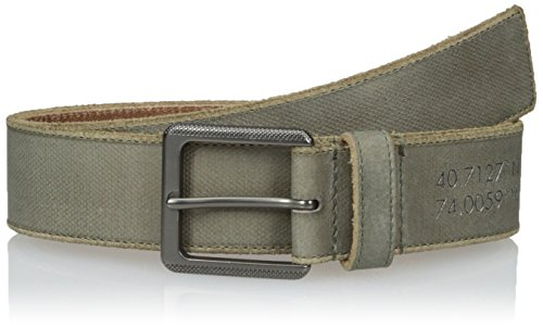 Calvin Klein Men's Calvin Klein 38mm Canvas Printed Leather Stitched Edge Belt, Cargo Matte Gunmetal, 32