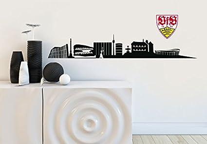 Selbstklebendes Wandtattoo Vfb Stuttgart Fanartikel Aufkleber Fussball Skyline Schwarz 120x19cm Mit Logo 18cm Amazon De Sport Freizeit