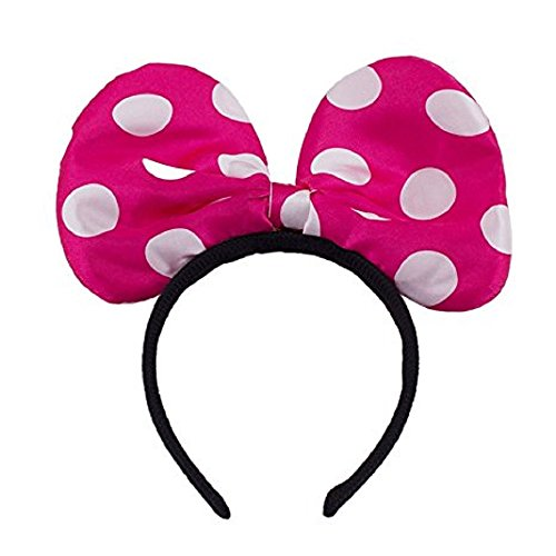 LED Light Up Jumbo Polka Dot Bow Headband Pink