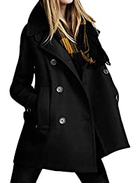 a648f9a5211 Pea Coat for Women Laimeng World Women Solid Long Coat Parkas for Women  Ladies Plus Size Winter