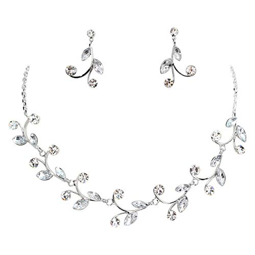 Earrings Crystal Floral Necklace (Faship Gorgeous Clear Rhinestone Crystal Floral Necklace Earrings Set)