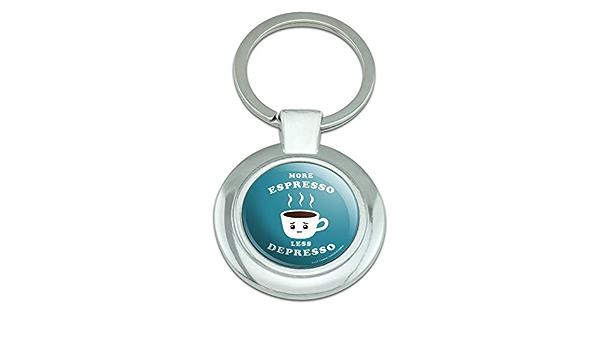More Espresso Less Depresso Funny Round Cufflink Set Silver Color