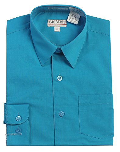 (Gioberti Boys Long Sleeve Solid Dress Shirt, Turquoise B,)