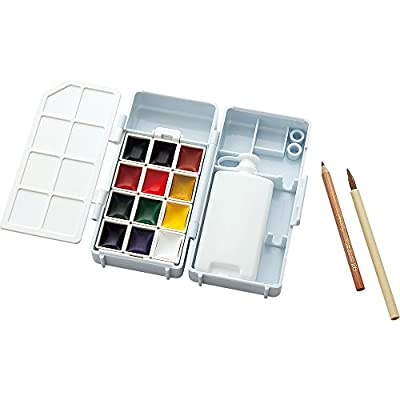 Kuretake Watercolor Art Painting Compact Box Set 12 Color for Outdoor Use