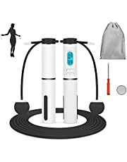 SlowTon Jump Rope, Weighted Counting Jump Rope, Adjustable Weight Time Rotations Skipping Rope With Calorie Counter, Cordless Jumping Rope for Indoor Outdoor Sport Fitness for Women and Men