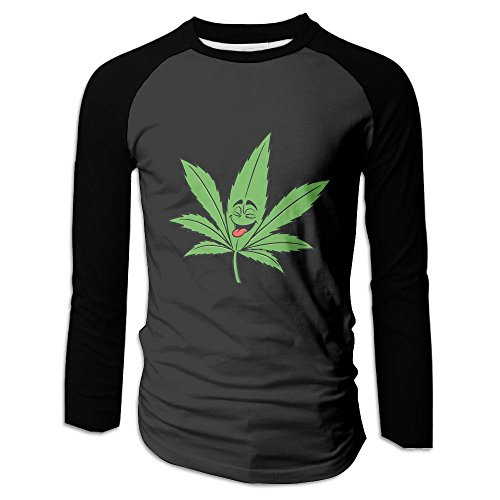 Men's Marijuan-a Leaf Weed Clipart Cartoon Cotton Long Sleeve Raglan T-Shirts (Best Tips To Quit Smoking Weed)