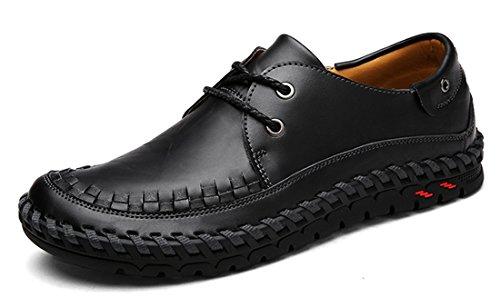 Tda Mens Fashion Slip-on Lær Kjøre Fotturer Loafers Søm Sko Svart