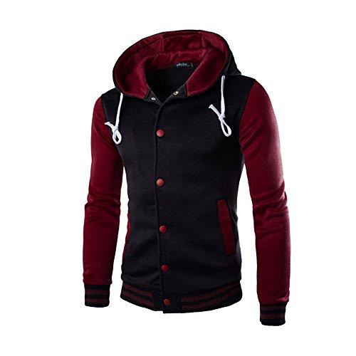 OWMEOT Mens Fashion Slim Fit Varsity Baseball Bomber Jacket Hoodie Cotton (Wine, -