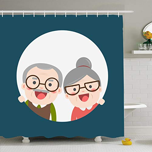 Ahawoso Shower Curtain 72x78 Inches Flat Blue Elder Retired Elderly Senior Age Couple Creative Old Citizen Character Grandma Design Waterproof Polyester Fabric Set with Hooks -
