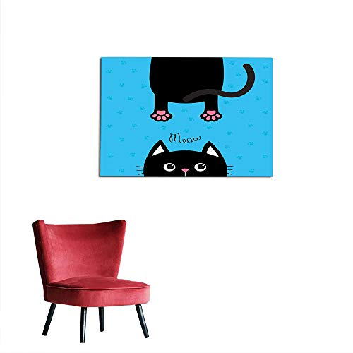 kungfu Decoration Photographic Wallpaper Kawaii,Kawaii Style Hanging Fat Cat Body with Paws and Round Kitten Pet Face Cartoon,Black Pink Blue Custom Poster W31.5 x L23.6