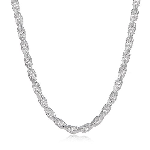 Silver Braided Necklace (2.6mm 925 Sterling Silver Nickel-Free Diamond-Cut Rope Link Italian Chain, 20