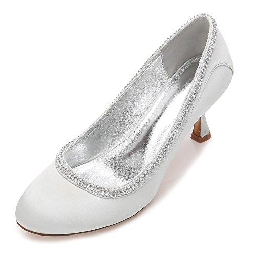 Correa Raso yc 17061 Cerraron P Zapatos Nupcial Silver Tobillo De Rhinestone Novia Toe Tacón Mujeres Corte 40 L Alto Od0qPPx