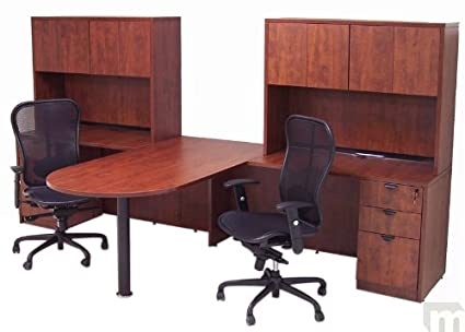 Superbe Cherry Laminate 2 Person Peninsula Workstation