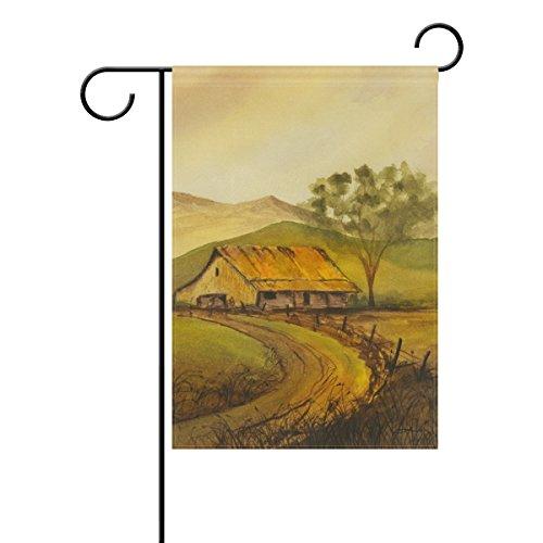 Top Carpenter Hut and Tree Sunset Decorative Autumn Landscape Garden Flag 28'' x - Hut Sunset
