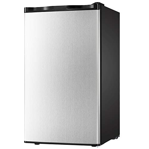 Compact Refrigerator 3.2 cu ft. Unit Small Freezer Cooler Fridge Small Drink Food Storage Machine for Office, Dorm, Apartment, Bedroom(silver stainless steel)) (Best Small Compact Refrigerators)