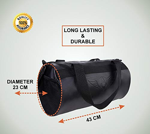 41Ab5oXXAaL AUXTER Blacky Leatherette Gym Bag Duffel Bag Shoulder Bag for Men and Women Emboss Logo (Black)