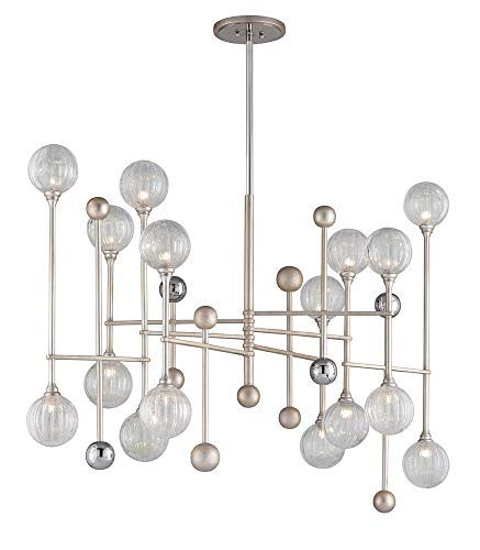 016 Corbett Lighting - Majorette 16-Light LED Island Pendant - Silver Leaf Finish With Polished Chrome Accents - Clear Seeded Glass Shade