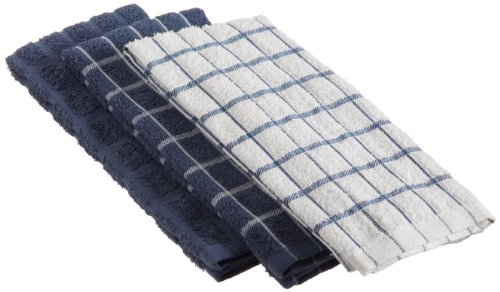 "Ritz 100% Cotton Terry Kitchen Dish Towels, Highly Absorbent, 25"" x 15"", 3-Pack, Federal Blue (Towels Kitchen Blue Navy)"