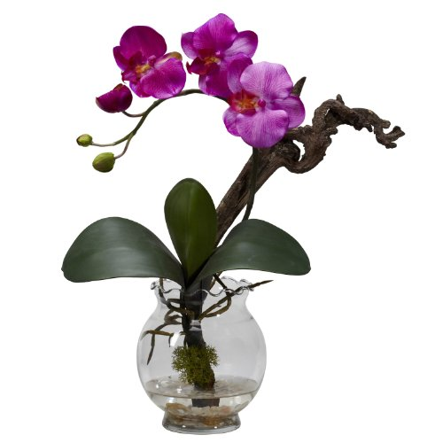 Mini Cascade Pot (Nearly Natural 1277-PP Mini Phalaenopsis with Fluted Vase Silk Flower Arrangement, Purple)