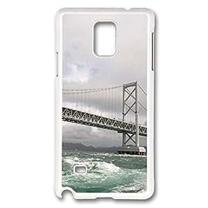 VUTTOO Rugged Samsung Galaxy Note 4 Case, Bridge Over Rough Sea White Plastic Hard Case Back Cover for Samsung Galaxy Note 4 N9100