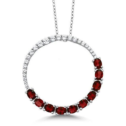 (Gem Stone King 925 Sterling Silver Red Garnet Circle Pendant Necklace (3.00 Cttw, With Complimentary Chain))