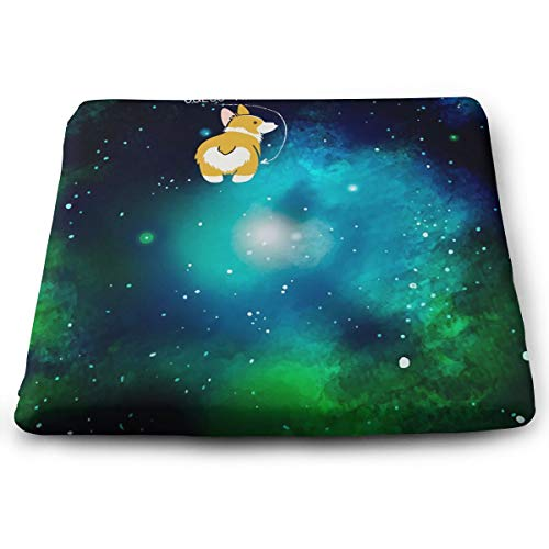 STWINW Indoor/Outdoor Comfortable Memory Foam Seat Cushion Teal Watercolour Galaxy Corgi Chair Pad Wheelchair Cushion for Office,Home,Truck Driver,Kitchen Chairs,Vehicles