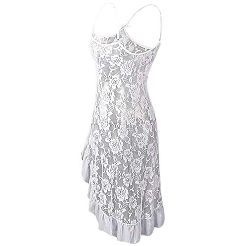 Women Sexy Lace Floral Strappy Nightwear Pajamas Transparent