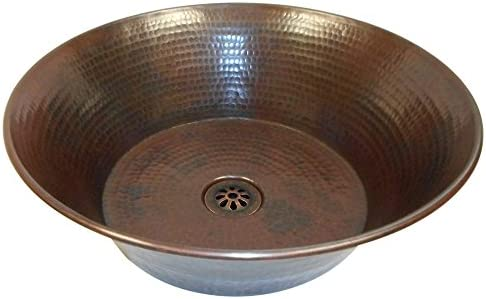 SimplyCopper 15 Round Hand Hammered Copper Cazo Vessel Sink with DRAIN