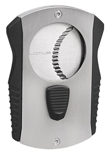 Lotus Barracuda 80 Ring Gauge Serrated Cigar Cutter (Chrome & Black) by Lotus