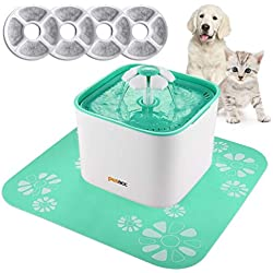 Pet Fountain Cat Dog Water Dispenser with Pump and 4 Replacement Filters - Healthy and Hygienic 2L Super Quiet Automatic Electric Water Bowl, Drinking Fountain for Dogs, Cats (2L)