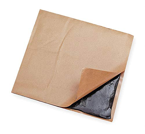 Adhesive Pads, Black, 8'' x 8'' x 3/16'', 0.7 lb, Butyl pack of 5