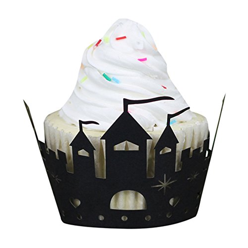 Pearlecent Art paper Cake Cup Halloween Pumpkin Lace Laser Cut Cupcake Wrapper Liner Baking Cup Muffin (Black)