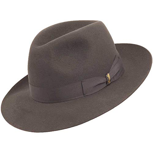 Borsalino Manzoni Fedora Hat, Grey, 7 1/4 (58) (Borsalino Fedora Hats For Men)