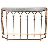Sterling Heavy Metal Console Table in Copper and Antique Mirror