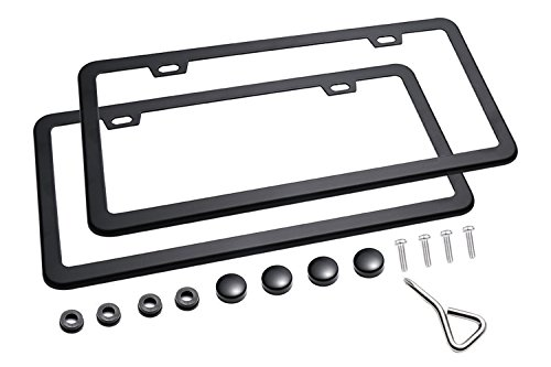 Ohuhu Black License Plate Frames, 2 PCS License Plate Frames with 2 Holes New Slim Black License Plate Covers WONT Block Letters / Stickers - Chr Plate