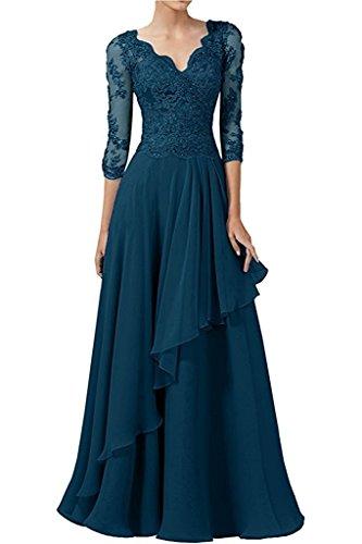 Braun Partykleider Braut La Blau mia Spitze Abendkleider Festlichkleider Abschlussballkleider Langarm Promkleider Dunkel Damen wE58qx5T1