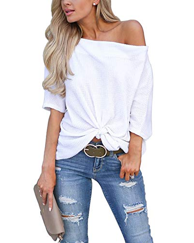 (Womens Knot Front Off The Shoulder Tops Waffle Knit Batwing Sleeve Casual Loose Pullover Shirts Blouse White Medium)