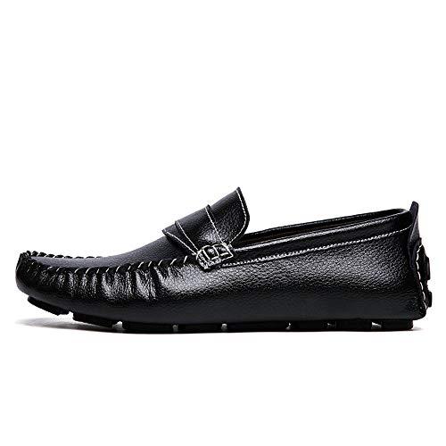 Pelle EU Dimensione shoes mocassini 43 Scarpe Uomo e uomo Color vera casual Nero Nero barca Mocassini pelle da da Xiaojuan in confortevoli traspiranti 1daHw1