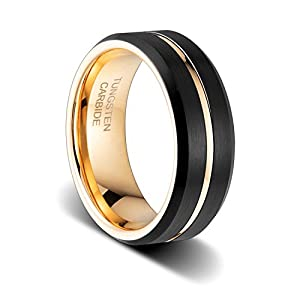 Tusen Jewelry 8mm 24k Gold Plated Inside And Grooved,Two Tone Wedding Band Tungsten Ring