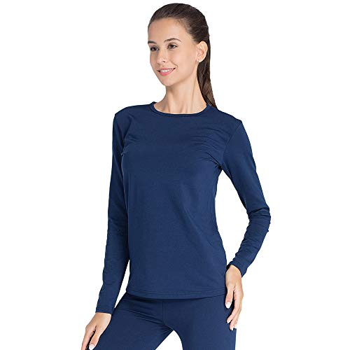 Thermal Underwear for Women Long Johns Set Fleece Lined Ultra Soft (Blue, Small)