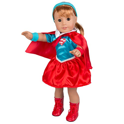 (Dress Along Dolly Supergirl Inspired Doll Outfit - 6pcs Superhero Halloween Costume for American Girl and 18 Inch)